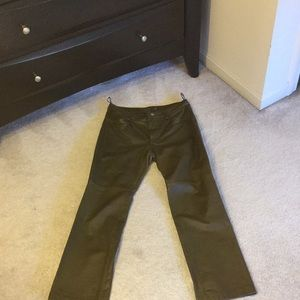 Olive Leather Pant